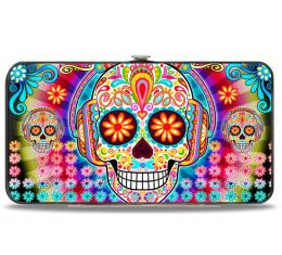 Hinged Wallet - Tranquility Beats Calaveras & Flowers/Rays Multi Color
