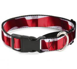 Plastic Martingale Collar - American Flag Vivid Stripes C/U Red/White