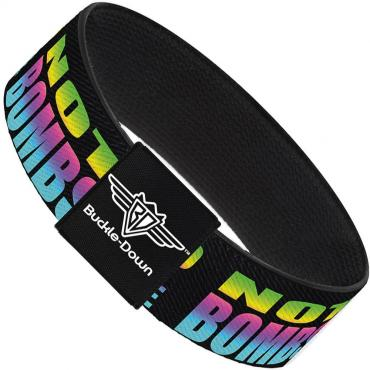 Buckle-Down Elastic Bracelet - DROP BASS NOT BOMBS Black/Rainbow