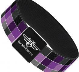Buckle-Down Elastic Bracelet - Checker Mosaic Purple