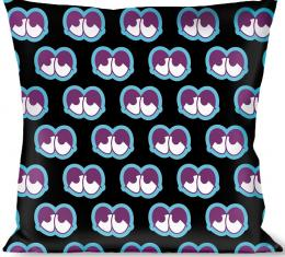 Buckle-Down Throw Pillow - Dopey Eyes Black/Baby Blue/Purple