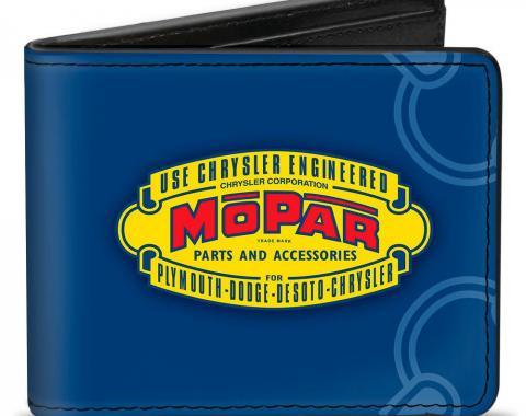 Bi-Fold Wallet - MOPAR 1937-1947 Logo-USE CHRYSLER ENGINEERED MOPAR PARTS AND ACCESSORIES Blue/Yellow/Red