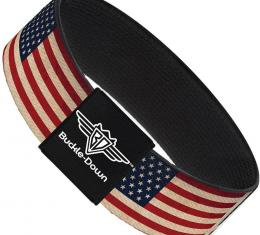Buckle-Down Elastic Bracelet - American Flag Weathered Color Repeat