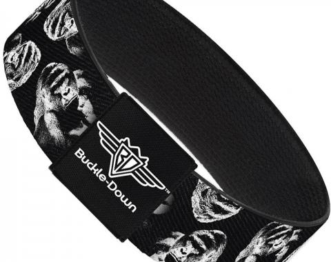 Buckle-Down Elastic Bracelet - Harambe Face Scattered Black/Grays