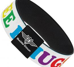 Buckle-Down Elastic Bracelet - FREE HUGS White/Multi Color