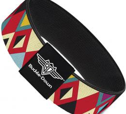 Buckle-Down Elastic Bracelet - Geometric9 Black/Red/Turquoise/Ivory