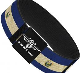 Buckle-Down Elastic Bracelet - El Salvador Flag/Black