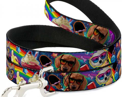 Buckle-Down Dog Leash - Pets & Snacks Rainbow Collage