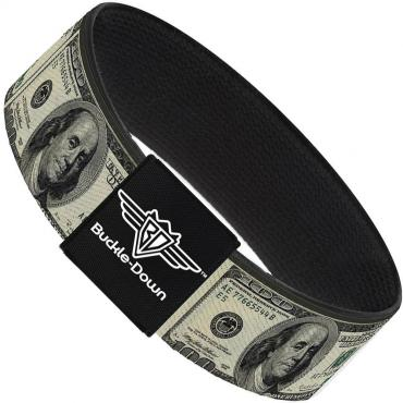 Buckle-Down Elastic Bracelet - 100 Dollar Bills