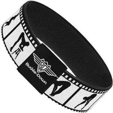 Buckle-Down Elastic Bracelet - Girls Posing Film Strip White/Black