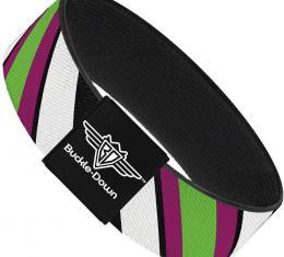 Buckle-Down Elastic Bracelet - Diagonal Stripes Black/White/Pink/Green