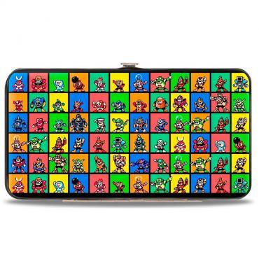 Hinged Wallet - MegaMan 8-Bit Character Multi Color Blocks