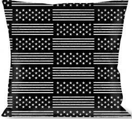 Buckle-Down Throw Pillow - Americana Stars & Stripes2 Black/White