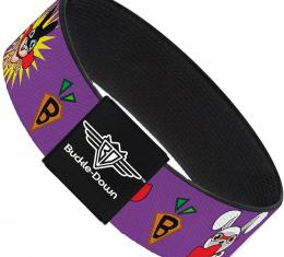 Buckle-Down Elastic Bracelet - Bunny Superhero Purple