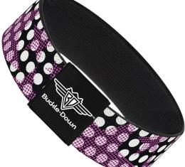 Buckle-Down Elastic Bracelet - Eighties Stars1 Black/White/Fuchsia