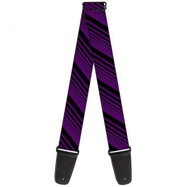 Guitar Strap - Diagonal Stripes Black/Purple