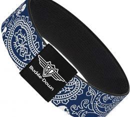 Buckle-Down Elastic Bracelet - Bandana/Skulls Royal/White