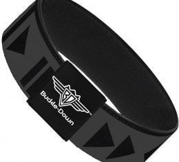 Buckle-Down Elastic Bracelet - Control Buttons Black/Gray