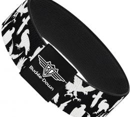 Buckle-Down Elastic Bracelet - Eagle Silhouettes Scattered Black/White