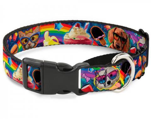 Plastic Martingale Collar - Pets & Snacks Rainbow Collage
