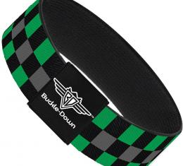Buckle-Down Elastic Bracelet - Checker Black/Gray/2 Green