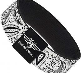 Buckle-Down Elastic Bracelet - Floral Paisley3 White/Black