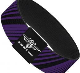 Buckle-Down Elastic Bracelet - Diagonal Stripes Black/Purple