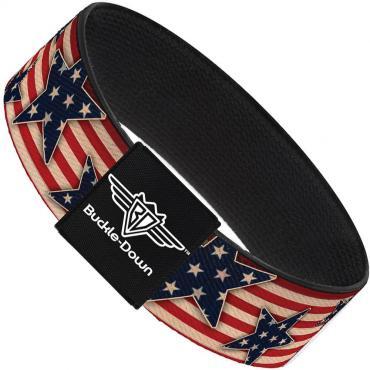 Buckle-Down Elastic Bracelet - Americana Stars & Stripes Red/White/Blue/White