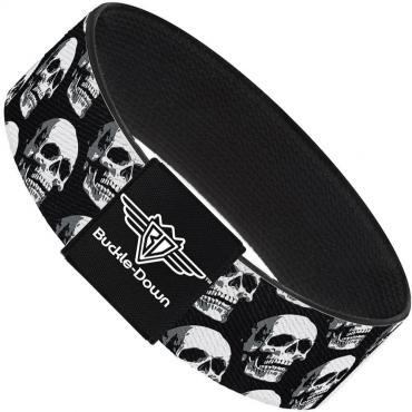 Buckle-Down Elastic Bracelet - 3-D Skulls Repeat Black/Grays/White