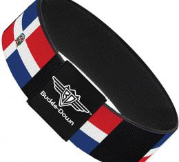 Buckle-Down Elastic Bracelet - Dominican Republic Flags/Black Black