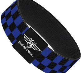 Buckle-Down Elastic Bracelet - Checker Black/Neon Blue
