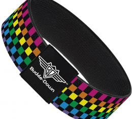 Buckle-Down Elastic Bracelet - Checker Black/Neon Rainbow