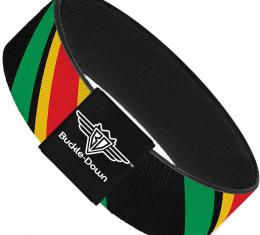 Buckle-Down Elastic Bracelet - Diagonal Stripes Black/Green/Yellow/Red