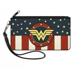 Canvas Zipper Wallet - SMALL - WONDER WOMAN/Logo Americana Red/White/Blue/Yellow