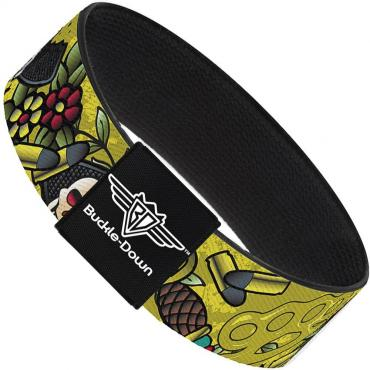 Buckle-Down Elastic Bracelet - Born to Raise Hell Yellow