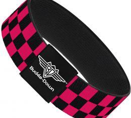 Buckle-Down Elastic Bracelet - Checker Black/Neon Pink