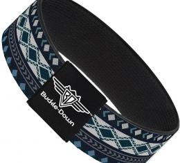 Buckle-Down Elastic Bracelet - Aztec4 Blues/White/Gray