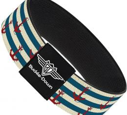 Buckle-Down Elastic Bracelet - Anchors w/Stripes White/Blue/Red