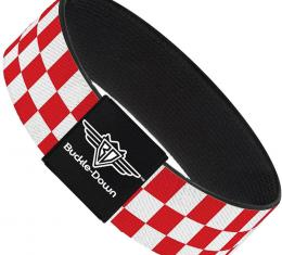 Buckle-Down Elastic Bracelet - Checker Red/White