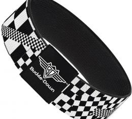 Buckle-Down Elastic Bracelet - Funky Checkers Black/White