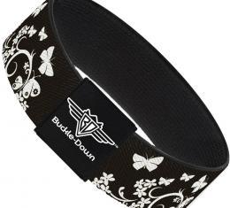 Buckle-Down Elastic Bracelet - Butterfly Garden Black/White