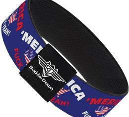 Buckle-Down Elastic Bracelet - MERICA FUCK YEAH!/USA Silhouette Blue/White/Red/US Flag