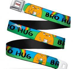 Adventure Time Logo White Full Color Seatbelt Belt - Finn & Jake BRO HUG w/Rainbow Webbing