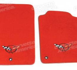 Corvette Mats, Torch Red Tru-Vette with C5 Logo 92, 2000-2004