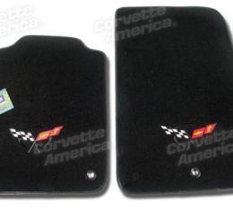 Corvette Mats, Black Tru-Vette with C5 Logo (90), 1997-2004