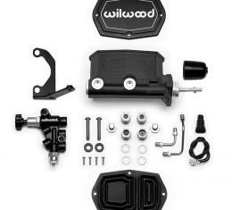 Wilwood Brakes Compact Tandem M/C w/Bracket and Valve (Pushrod) 261-14961-BK