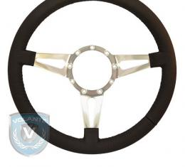 Volante S9 Premium Steering Wheel, Black Leather and Brushed Center, 3 Spoke with Slots