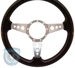 Volante S9 Premium Steering Wheel, Black Wood and Brushed Center, 3 Spoke with Holes