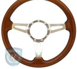 Volante S9 Premium Steering Wheel, Walnut Wood and Brushed Center, 3 Spoke with Slots