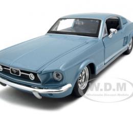 1967 Ford Mustang GT Diecast Car Model 1/24 Blue Die Cast Car